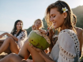 woman-coconut-tropical-beach-flower